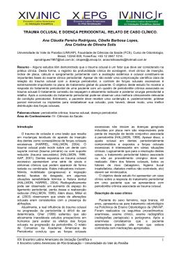 trauma oclusal e doença periodontal. relato de caso clínico.
