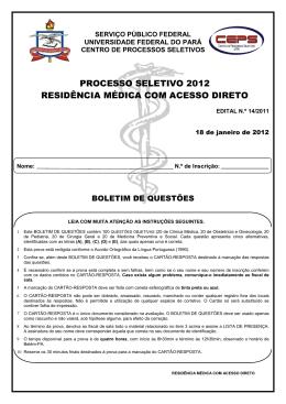 prova residência médica com acesso direto - Ceps