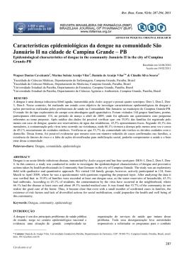 Características epidemiológicas da dengue na comunidade São
