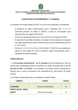 CONVOCAÇÃO EXTRAORDINÁRIA - 4ª CHAMADA A