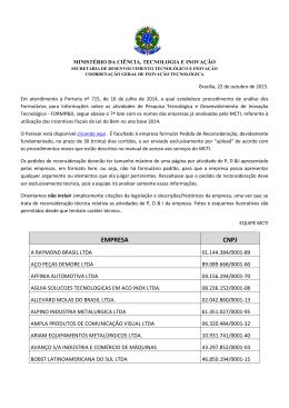 EMPRESA CNPJ - Ministério da Ciência e Tecnologia