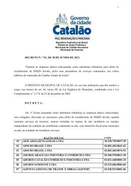 decreto nº 741/13 - Prefeitura de Catalão