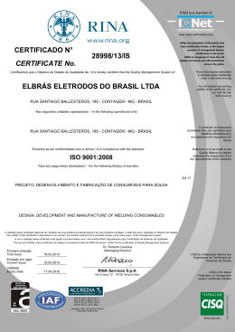 28998/13/IS ELBRÁS ELETRODOS DO BRASIL LTDA