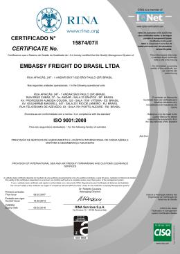 15874/07/I EMBASSY FREIGHT DO BRASIL LTDA CERTIFICATE