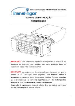 Manual de Instalação TF - Transfrigor do Brasil LTDA