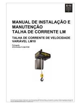 manual de instalação e manutenção talha de corrente lm