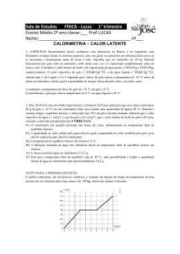 Calorimetria - calor latente - 2º ano