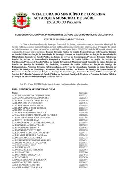 prefeitura do município de londrina autarquia municipal de saúde