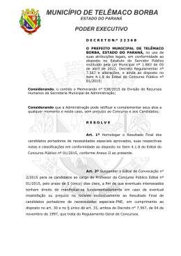 MUNICÍPIO DE TELÊMACO BORBA - Prefeitura Municipal de