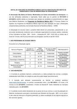 EDITAL DE CONCURSO DE RESIDÊNCIA MÉDICA 2016