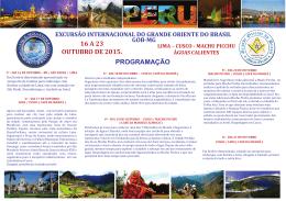 De 16 a 23 de outubro/2015 - Lima - Cusco - PAEL-GOB-MG