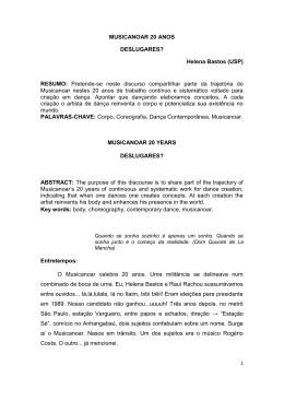 MUSICANOAR 20 ANOS DESLUGARES? Helena Bastos (USP