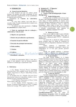 Relatório IV – 20 Bimestre Disciplina: Física 2 Título: Refrigeração 1