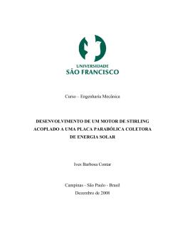 Curso – Engenharia Mecânica DESENVOLVIMENTO DE UM