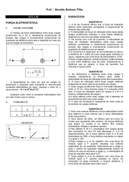 Prof.: Geraldo Barbosa Filho AULA 02 FORÇA ELETROSTÁTICA