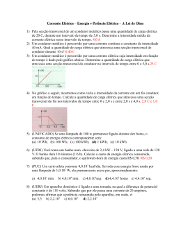 Lista de Apoio - Corrente Elétrica e Lei de Ohm