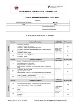 Ano/Turma 7º D - 2015-2016 Diretora de Turma: Carla Maria