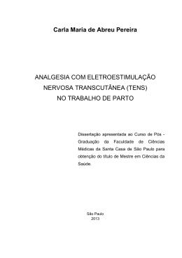 Analgesia com Eletroestimulação Nervosa Transcutânea (TENS)