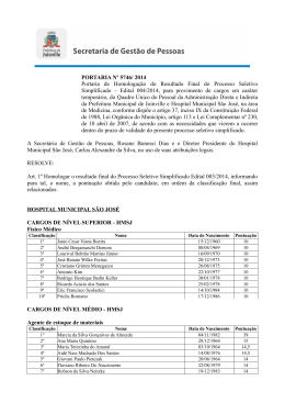 Resultado Classificação Final Edital 004/2014