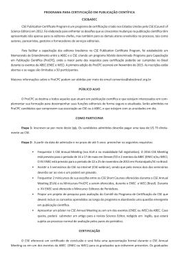 Programa Para CertifiCação em PubliCação CientífiCa CSe&abeC