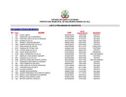 NOME CPF - Prefeitura de Balneário Barra do Sul