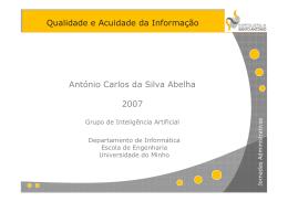 Qualidade e Acuidade da Informação António Carlos da Silva