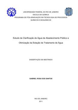 Estudo de Clarificação de Água de Abastecimento - TPQB
