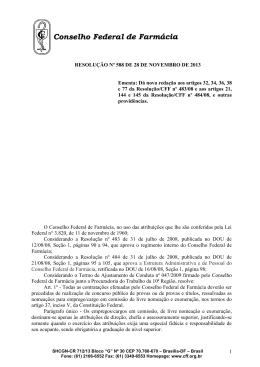 resolução nº 588 - Conselho Federal de Farmácia