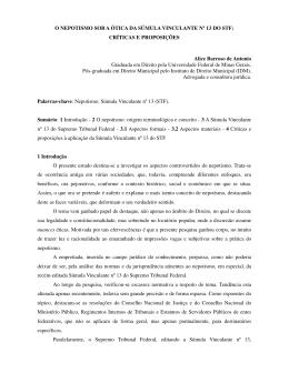 O NEPOTISMO SOB A ÓTICA DA SÚMULA VINCULANTE Nº 13 DO