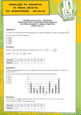 Resolução de Matemática da Prova Objetiva FGV
