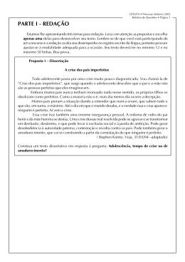 Prova do Processo Seletivo 2005 realizada em 28/11/2004