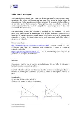 Pontos notáveis do triângulo A circunferência que é uma curva