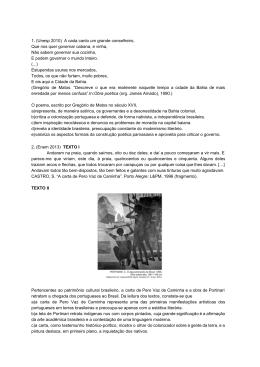 Exercício Barroco e Arcadismo - Cursinho Gratuito Primeiro de Maio