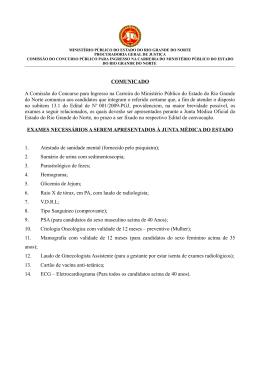 COMUNICADO A Comissão do Concurso para Ingresso na Carreira
