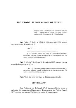 PROJETO DE LEI DO SENADO Nº 409, DE 2015