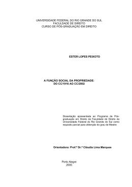 A FUNÇÃO SOCIAL DA PROPRIEDADE: DO CC/1916 AO CC/2002