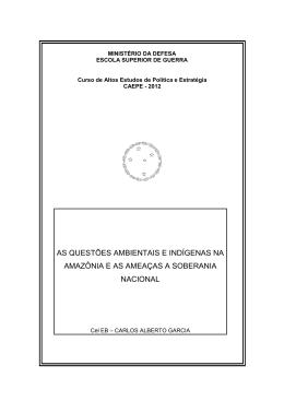 GARCIA, Carlos Alberto. As questões ambientais e indígenas