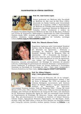 PALESTRANTES DO FÓRUM CIENTÍFICO Prof. Dr. José Carlos Lopes