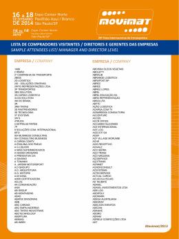 lista de compradores visitantes / diretores e gerentes das empresas