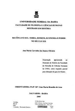 Recôncavo Sul - PPGH - UFBA - Universidade Federal da Bahia