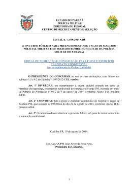 ESTADO DO PARANÁ POLÍCIA MILITAR DIRETORIA DE PESSOAL