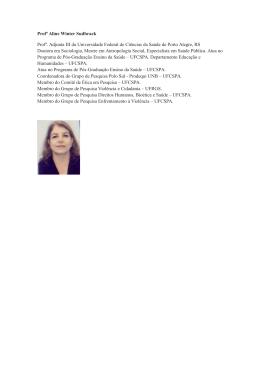 Profª Aline Winter Sudbrack Profª. Adjunta III da Universidade