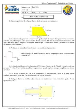 1) Calcule o perímetro do polígono abaixo, dando a resposta em