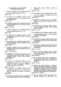 relações métricas nos poligonos regulares = lista