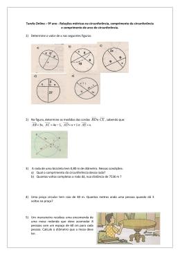 Lista de Exercícios sobre relações métricas na circunferência
