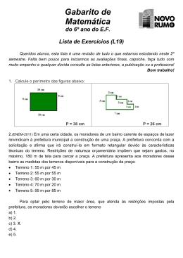 Gabaritos da Lista L19 de Matemática