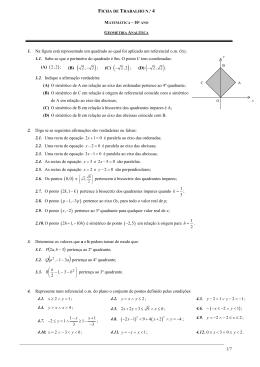 Ficha de trabalho Geometria Analítica