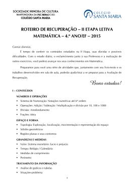 AVALIAÇÃO DE CIÊNCIAS - Colégio Santa Maria