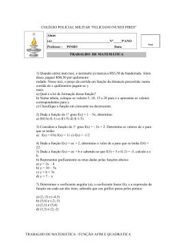 TRABALHO DE MATEMÁTICA / FUNÇÃO AFIM E QUADRÁTICA