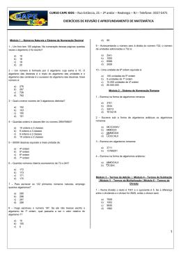 Questões de matemática - Cape Kids preparatório